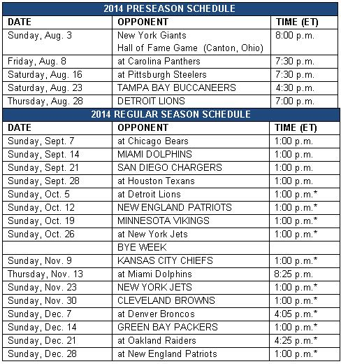 NY – The Buffalo Bills today announced the team's 2014 schedule