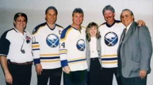 Lou Billittier Jr, Gilbert Perreault, Rene Robert, Mary Beth Billittier, Rick Martin and Lou Billittier Sr.